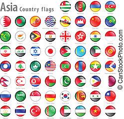 asiático, bandera nacional, botones, conjunto