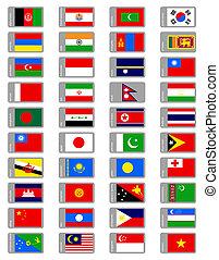 asiático, banderas, conjunto