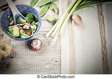 asiático, bata frito, vegetables., fondo alimento
