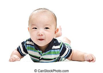 asiático, bebé, niño