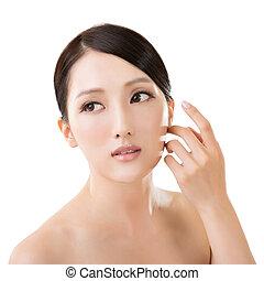 asiático, beleza, rosto