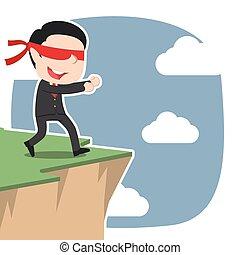 asiático, blindfolded, homem negócios, andar, para, penhasco, borda