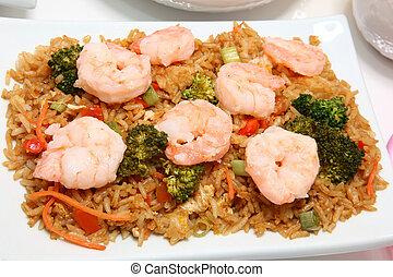asiático, camarón, arroz frito