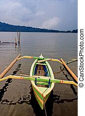 asiático, canoa, en, el, lago