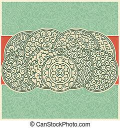 asiático, cartão, retro