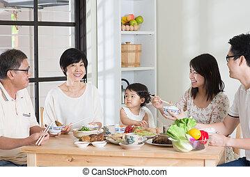 asiático, chinês, família janta