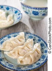 asiático, chinês, prato, fresco, dumplings