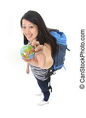 asiático, chinês, viajante, mulher backpack, segurando,...