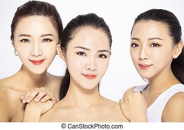 asiático, closeup, três, beleza, rosto