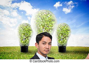 asiático, composto, popa, homem negócios, imagem, apontar
