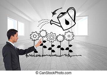 asiático, compuesto, hombre de negocios, imagen, señalar, ...