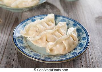 asiático, cozinha chinesa, fresco, dumplings
