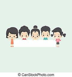 asiático, crianças, com, em branco, bandeira
