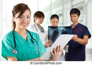 asiático, cuidados de saúde, workers.