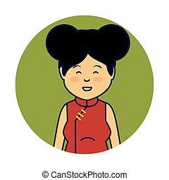 asiático, cute, mulher, etnicidade, personagem