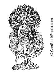 asiático, decoração, woman.mandala