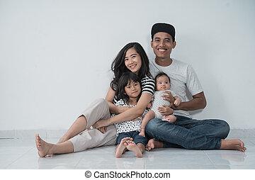 asiático, diversión, familia , felicidad, sentado, tener, ...