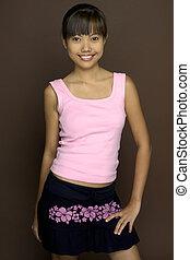 asiático, em, cor-de-rosa, 3