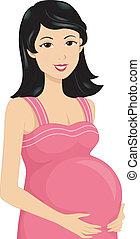 asiático, embarazada