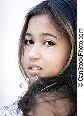 asiático, encantador, niña