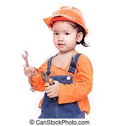 asiático, engenheiro, bebê, ferramentas, em, mão