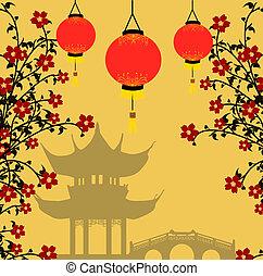 asiático, estilo, plano de fondo, vector, ilustración