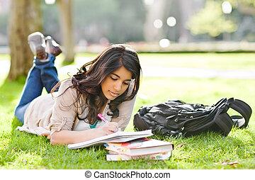 asiático, estudante, campus
