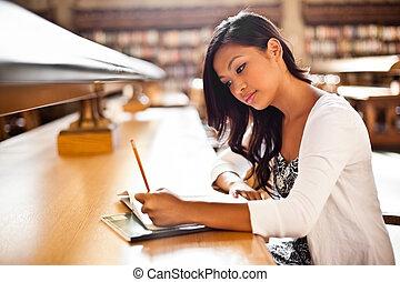 asiático, estudante, estudar