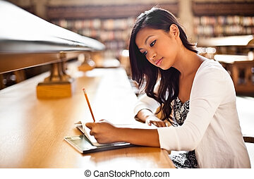 asiático, estudiante, estudiar