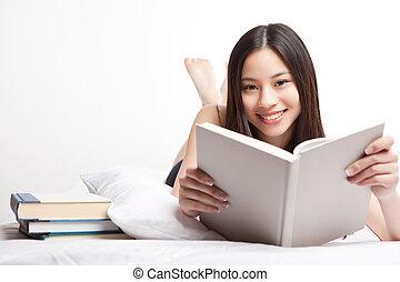 asiático, estudiante universitario