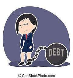 asiático, executiva, amarrada, com, dívida, ferro, bola
