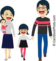 asiático, família feliz, andar