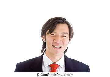 asiático, fundo, paleto, homem negócios, branca, feliz