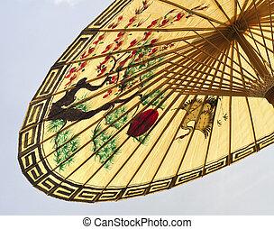 asiático, guarda-chuva, detalhe