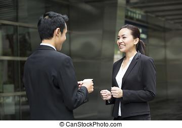 asiático, hombre de negocios, presentación, el suyo, tarjeta...