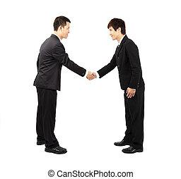 asiático, homem negócios, agitação mão, e, arco