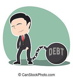 asiático, homem negócios, amarrada, com, dívida, ferro, bola