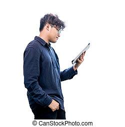 asiático, homem negócios, trabalhar, tabuleta, e, isolado, branco