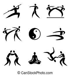 asiático, iconos, artes marciales