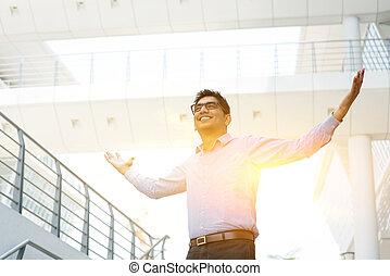 asiático, indianas, pessoas negócio, celebrando, sucesso