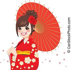 asiático, japonés, paraguas, mujer