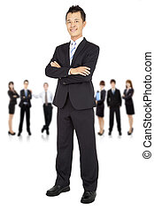 asiático, jovem, homem negócios, e, equipe negócio