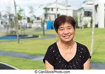 asiático, jubilado