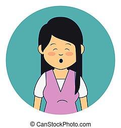 asiático, lindo, mujer, pertenencia étnica, carácter