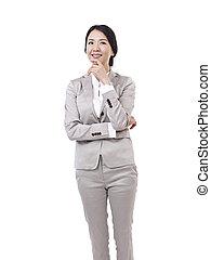 asiático, mujer de negocios