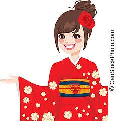 asiático, mujer japonesa
