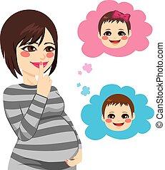 asiático, mulher grávida, querer saber