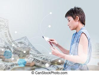 asiático, mulheres negócios, é, trabalhar, touchpad