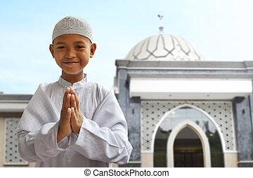 asiático, musulmán, niño