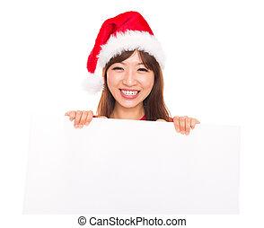 asiático, navidad, mujer, encima, cartelera, señal